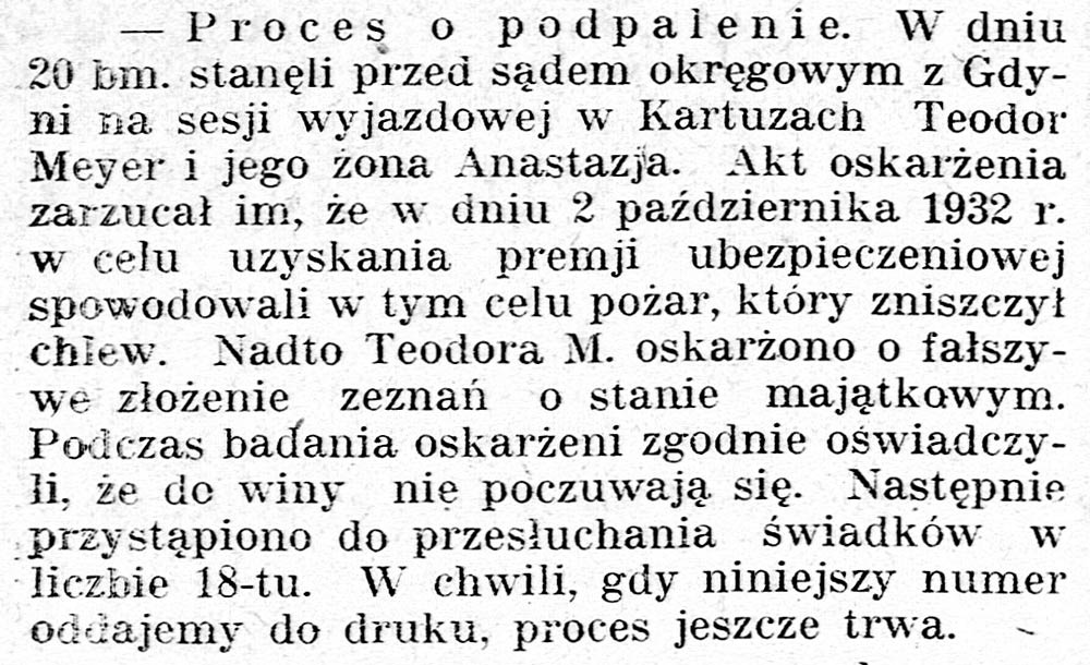 [Kartuzy. Proces o podpalenie ...] // Gazeta Kartuska. - 1933, nr 74, s. 3