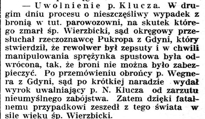 [Uwolnienie p. Klucza ...] // Gazeta Kartuska. - 1933, nr 74, s. 2