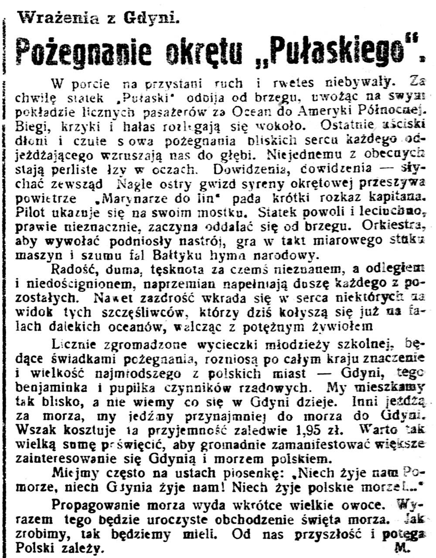 """Pożegnanie okrętu """"Pułaskiego"""". Wrażenia z Gdyni / M. // Gazeta Kartuska. - 1933, nr 74, s. 3"""