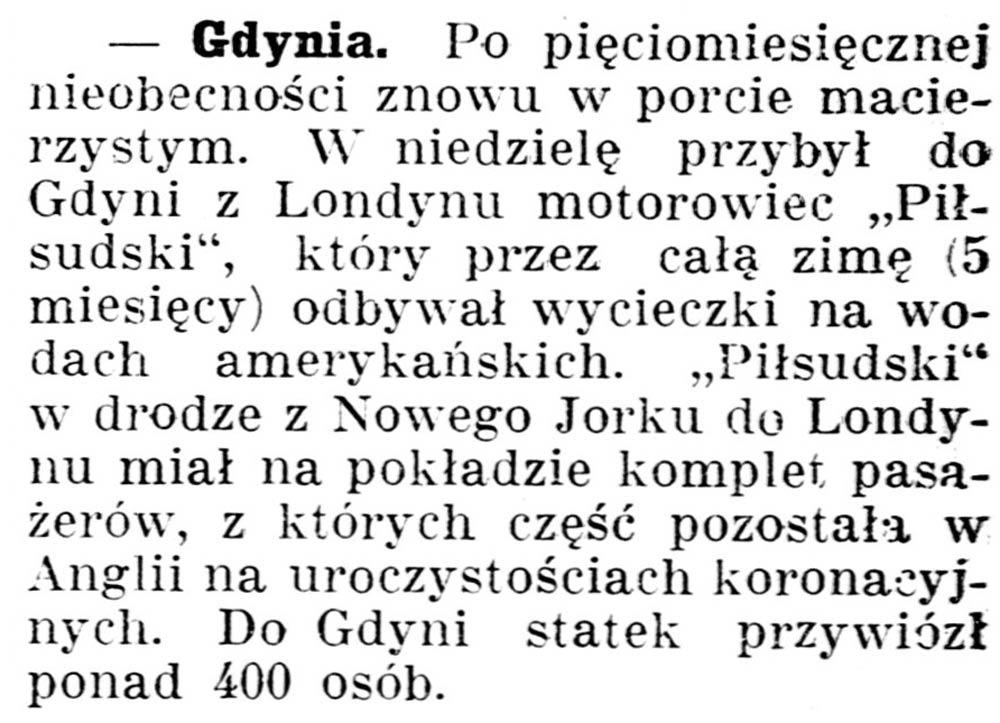 [Po pięciomiesięcznej nieobecności znowu w porcie macierzystym ...] // Gazeta Kartuska. - 1937, nr 60, s. 2