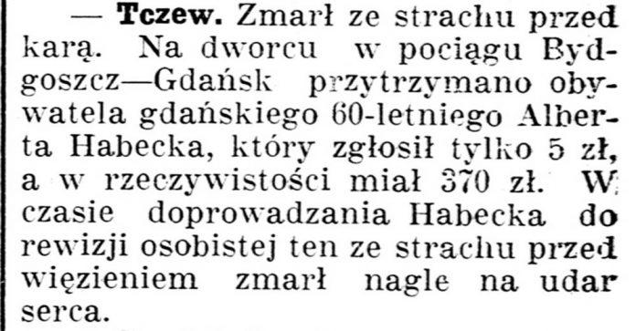 [Tczew. Zmarł ze strachu przed karą // Gazeta...] // Gazeta Kartuska. - 1937, nr 60, s. 2