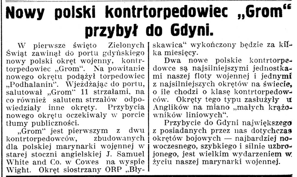 """Nowy polski kontrtorpedowiec """"Grom"""" przybył do Gdyni // Gazeta Kartuska. - 1937, nr 60, s. 3"""