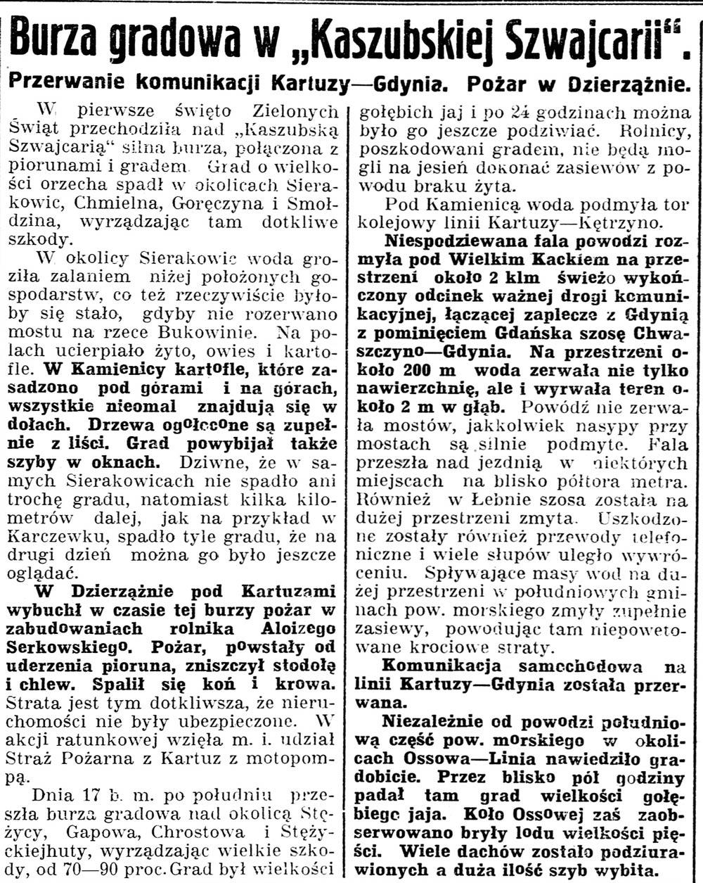 """Burza gradowa w """"Kaszubskiej Szwajcarii"""". Przerwanie komunikacji Kartuzy - Gdynia. Pożar w Dzierżążnie // Gazeta Kartuska. - 1937, nr 60, s. 2"""