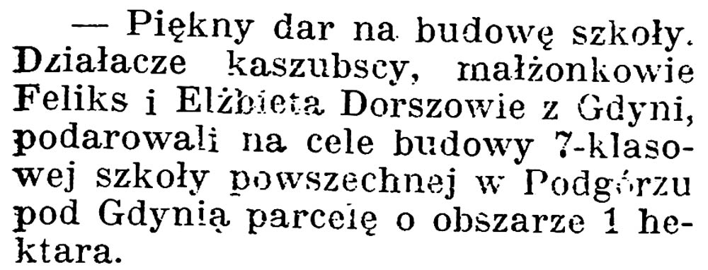 [Piękny dar na budowę szkoły] // Gazeta Kartuska. - 1924, nr 132, s. 3