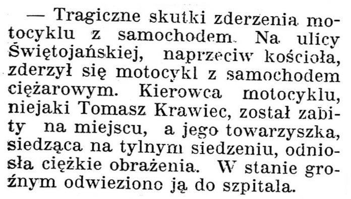 [Tragiczne skutki zderzenia motocyklu z samochodem] / Gazeta Kartuska. - 1938, nr 132, s. 3