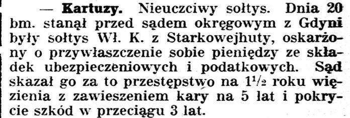 [Kartuzy. Nieuczciwy sołtys ...] // Gazeta Kartuska. - 1933, nr 74, s. 2
