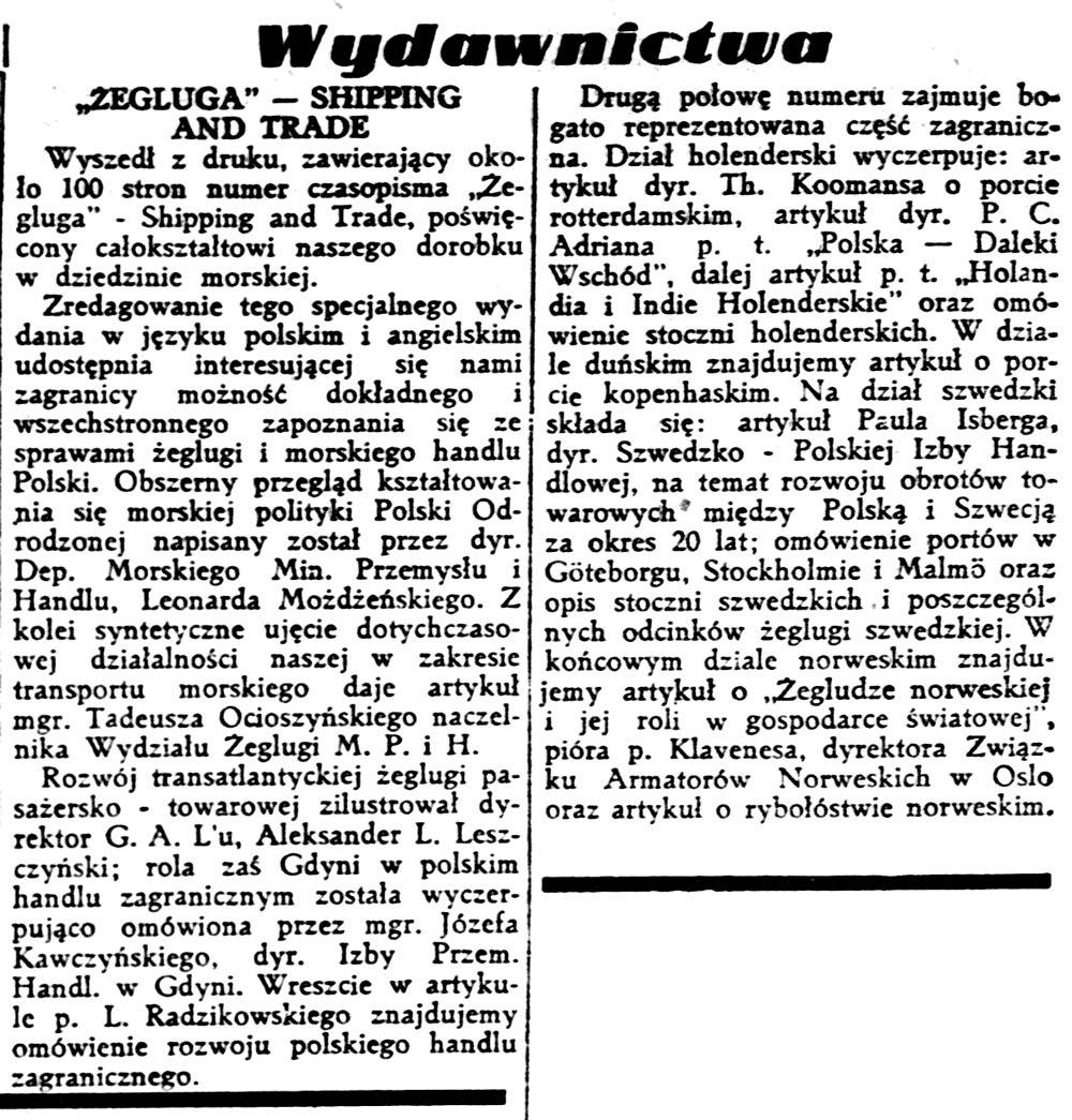"""""""Żegluga"""" - Shipping and Trade // Gazeta Polska. - 1939, nr 170, s. 5"""