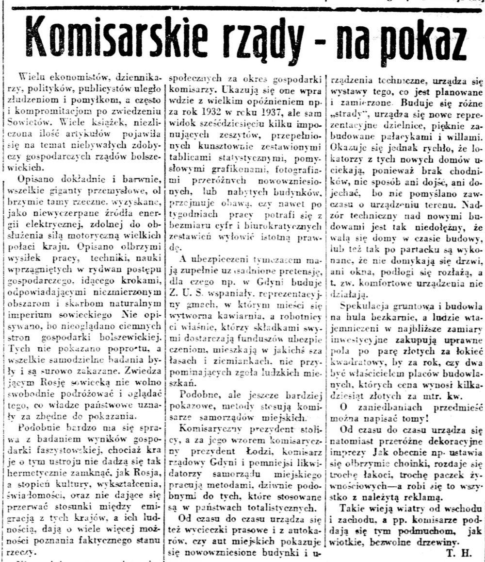 Komisarskie rządy - na pokaz // Gazeta Robotnicza. - 1937, nr 322, s. 9