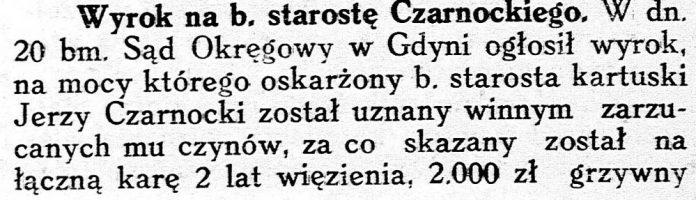 Wyrok na b. starostę Czarnockiego // Gwiazdka Cieszyńska. - 1937, nr 101, s. 2
