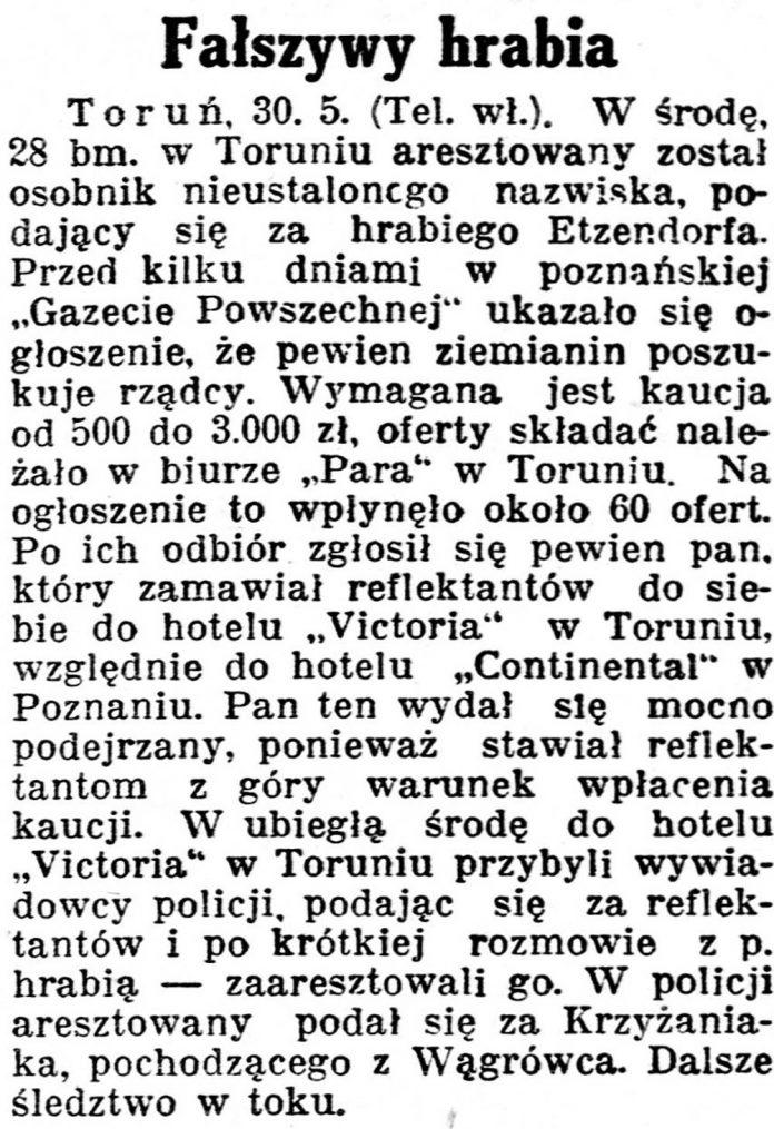 Fałszywy hrabia // Kurjer Poznański. - 1930, nr 248, s. 3