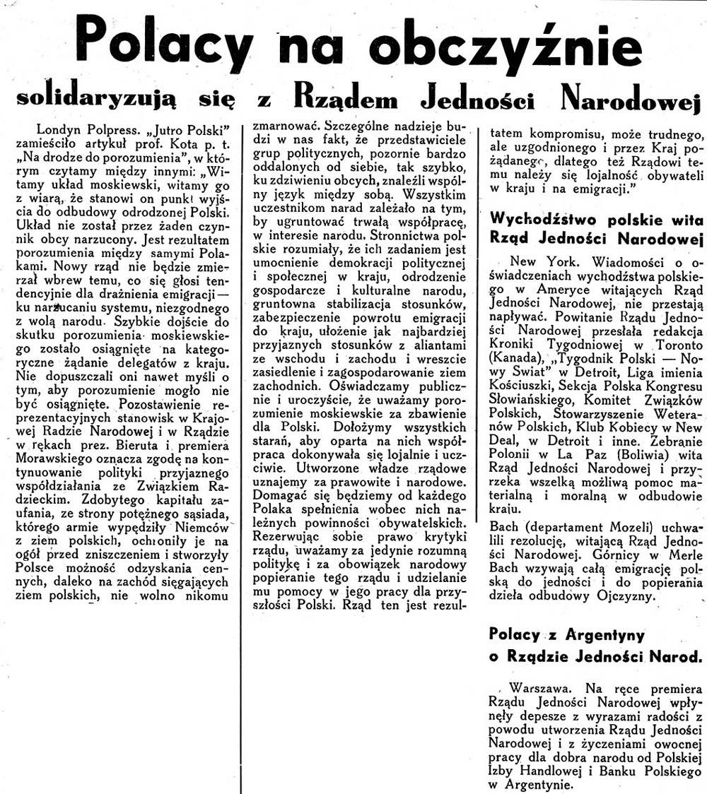 Polacy na obczyźnie solidaryzują się z Rządem Jedności Narodowej // Nasze Morze. - 1945, nr 51, s. 1