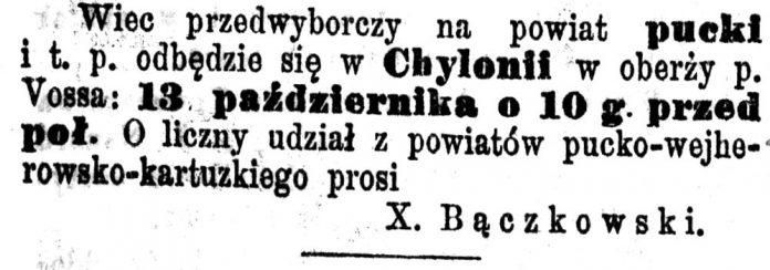 [Wiec przedwyborczy na powiat pucki i t. p. odbędzie się w Chylonii] // Pielgrzym. - 1898, nr 119, s. 1