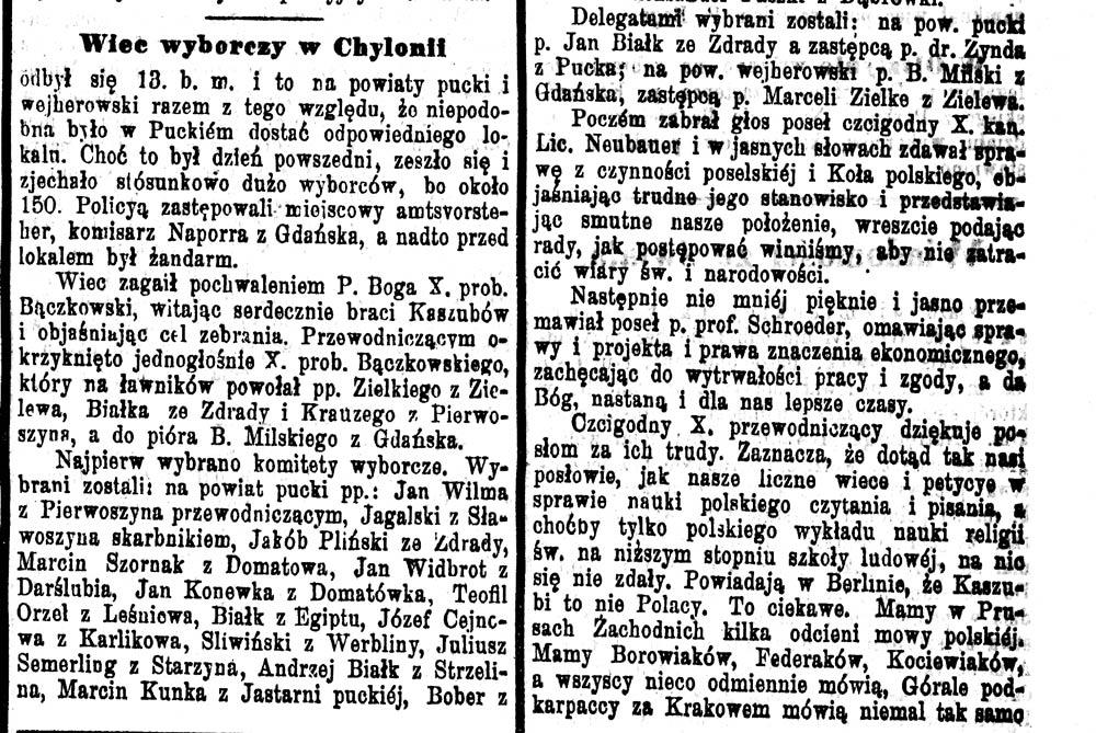 Wiec wyborczy w Chylonii // Pielgrzym. - 1898, nr 123, s. 2