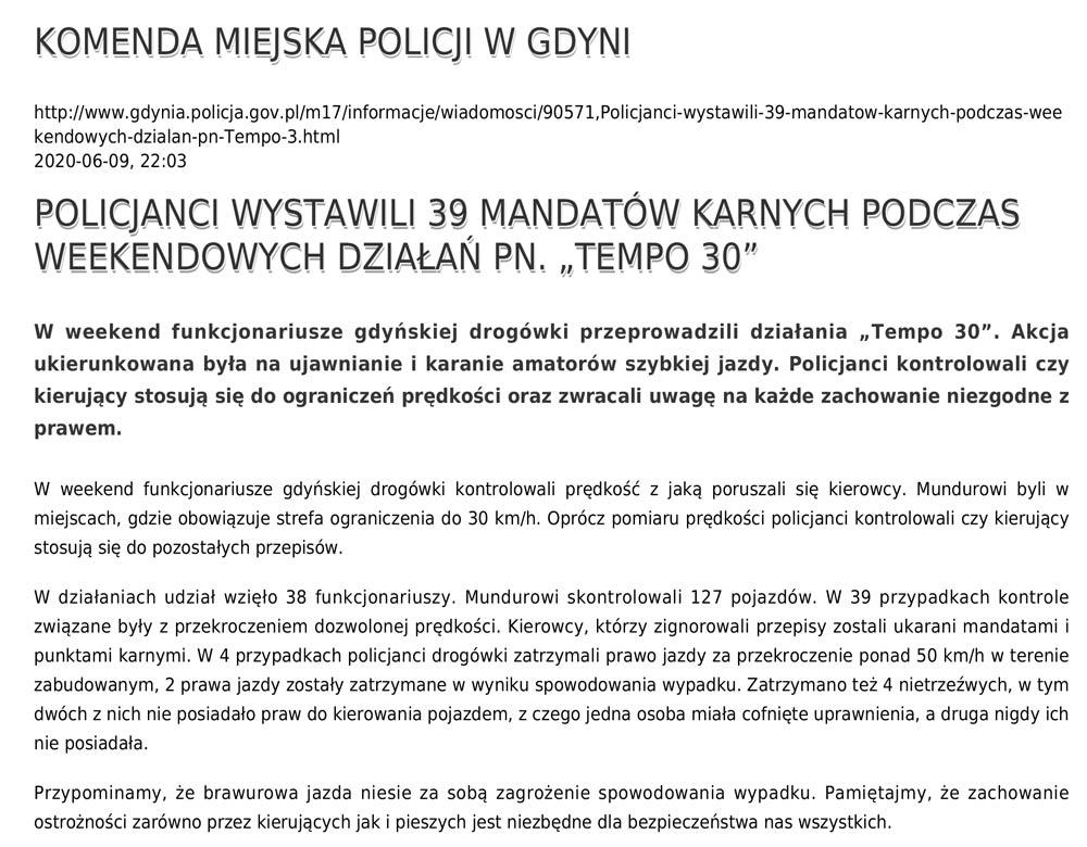 """POLICJANCI WYSTAWILI 39 MANDATÓW KARNYCH PODCZAS WEEKENDOWYCH DZIAŁAŃ PN. """"TEMPO 30"""" // KOMENDA MIEJSKA POLICJI W GDYNI"""