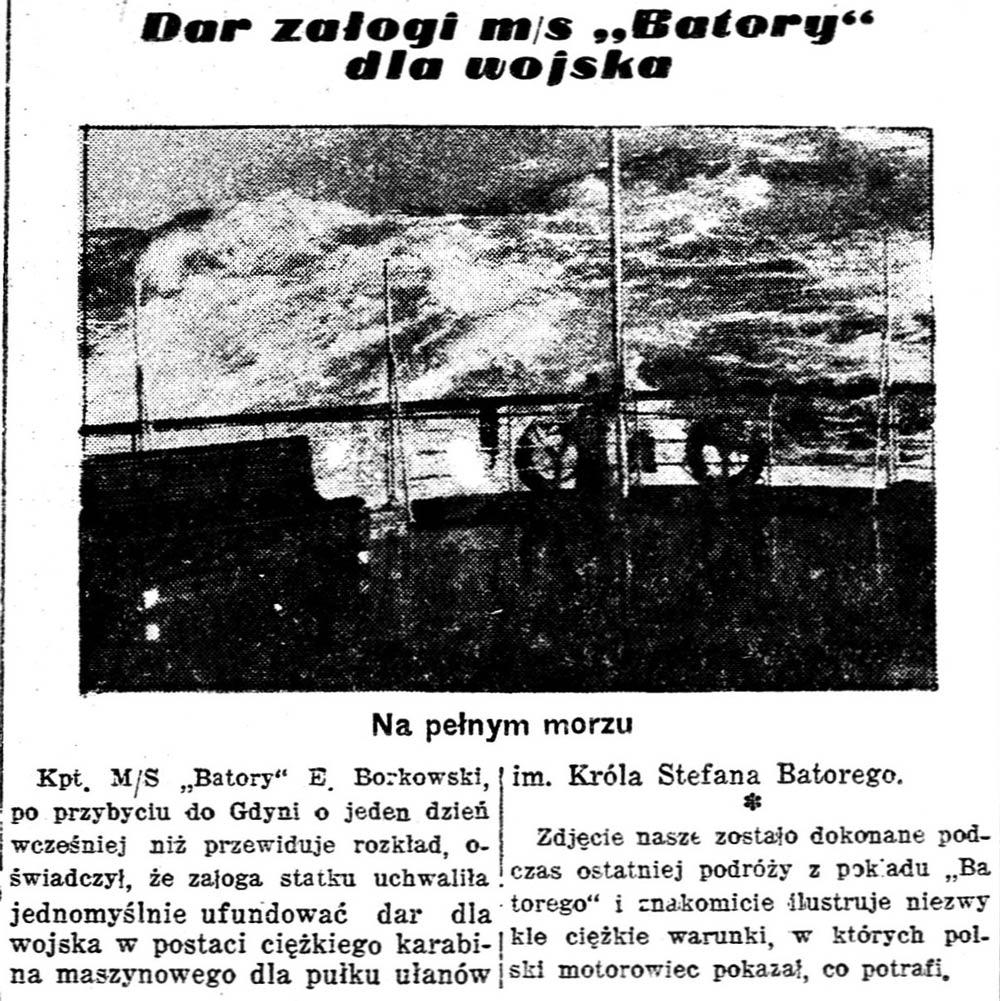 "Dar załogi m/s ""Batory"" dla wojska // Polska Zbrojna. - 1938, nr 354, s. 6"