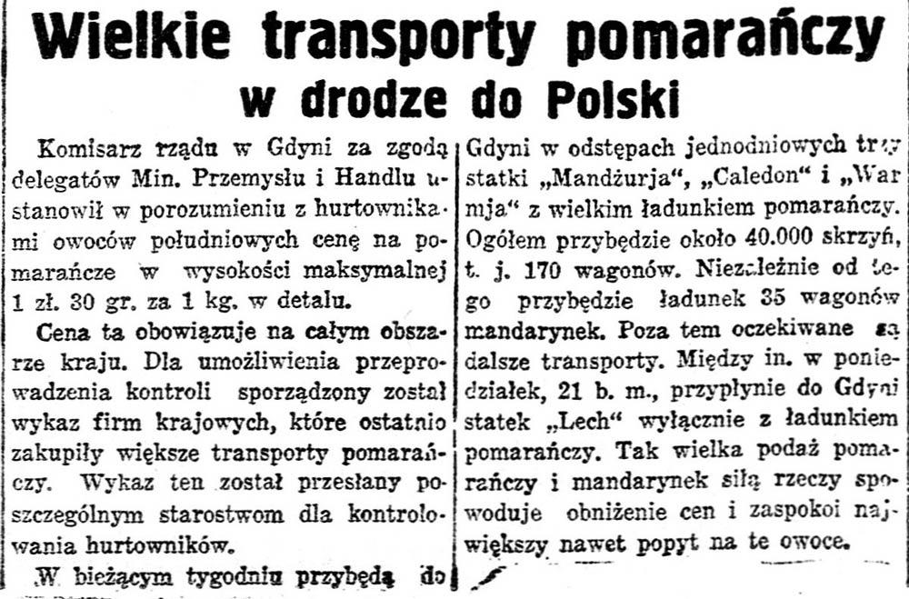 Wielkie transporty pomarańczy w drodze do Polski // [brak danych]