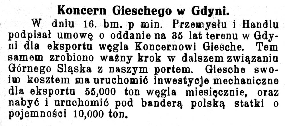 Koncern Gieschego w Gdyni // Pomorzanin. - 1928, nr 100, s. 3