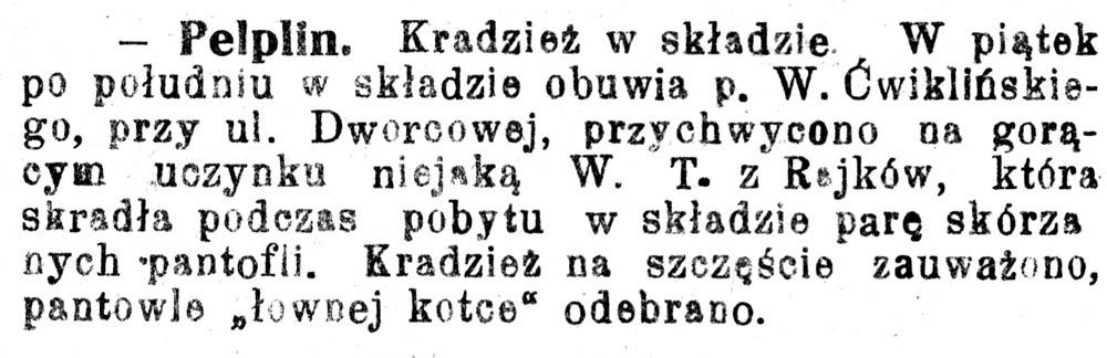 [Pelplin. Kradzież na składzie] // Pomorzanin 1929, nr 112, s. 2