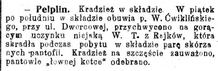 [Pelplin. Kradzież w składzie ...] // Pomorzanin. - 1929, nr 112, s. 2