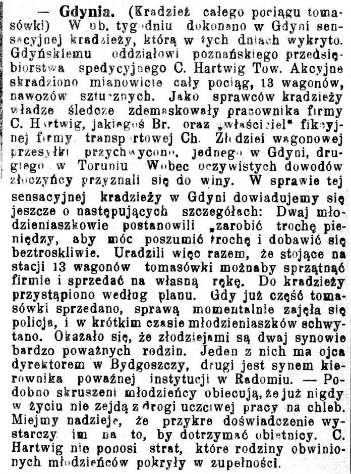 [Kradzież całego pociągu tomasówki ...] // Pomorzanin. - 1929, nr 112, s. 2