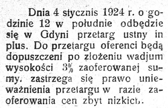 [Dnia 4 stycznia 1924 r. o godzinie 12 w południe odbędzie się w Gdyni przetarg ustny ...] // Dziennik Dostaw. - 1924, nr 46, s. [brak danych]