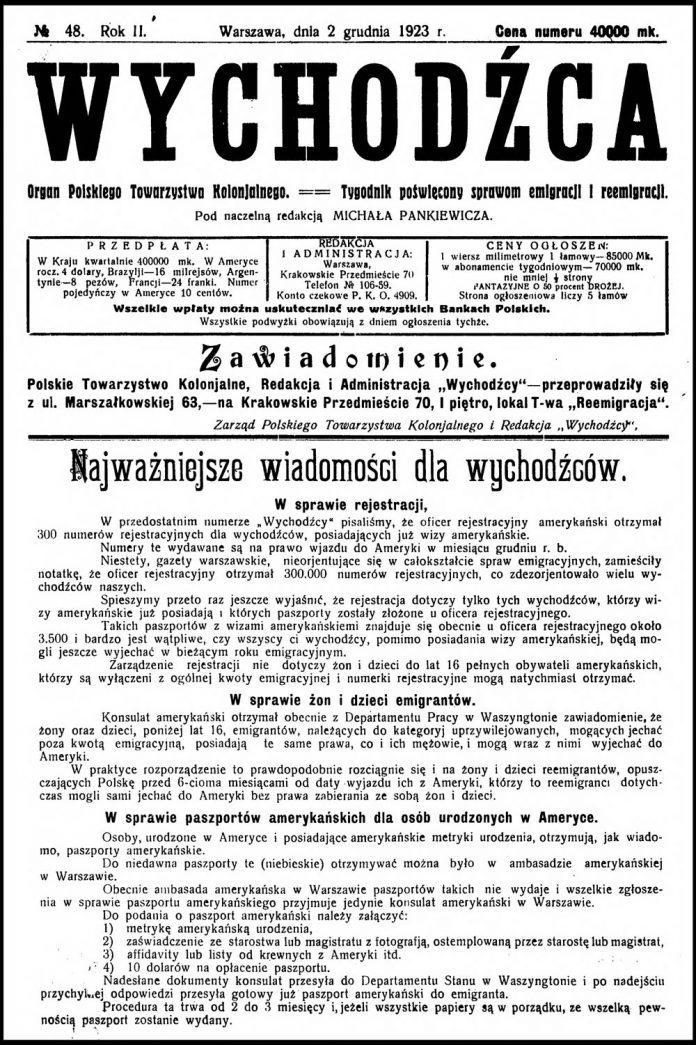 [1923, nr 48] Wychodźca. Organ Polskiego Towarzystwa Kolonjalnego. == Tygodnik poświęcony sprawom emigracji i reemigracji. - 1923, nr 48