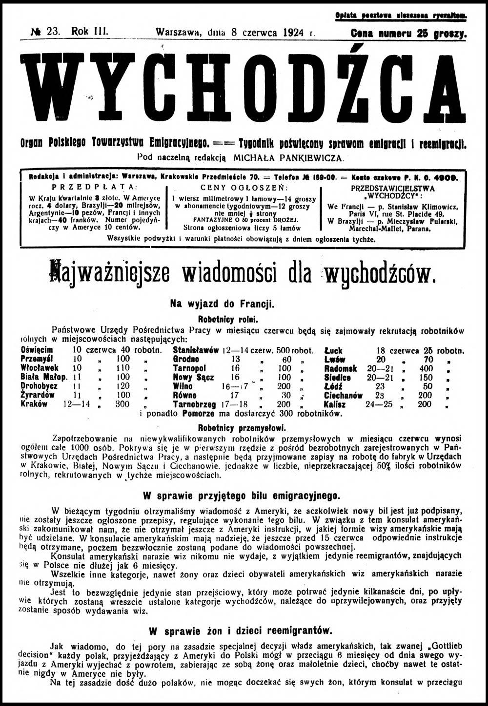 Wychodźca tygodnik poświęcony sprawom emigracji i reemigracji 1924, nr 23