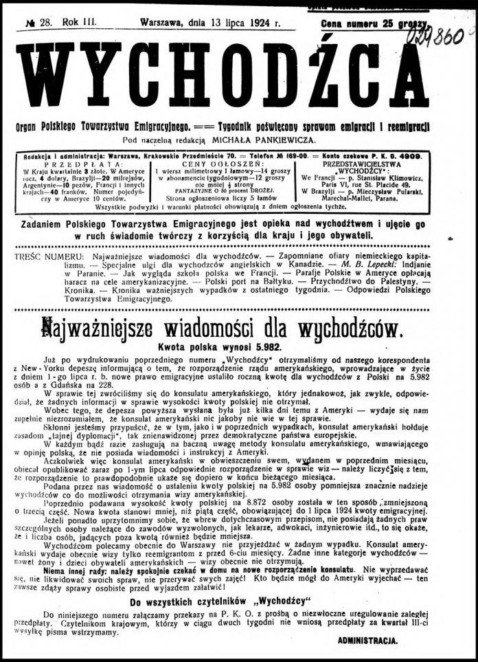 Wychodźca tygodnik poświęcony sprawom emigracji i reemigracji 1924, nr 28