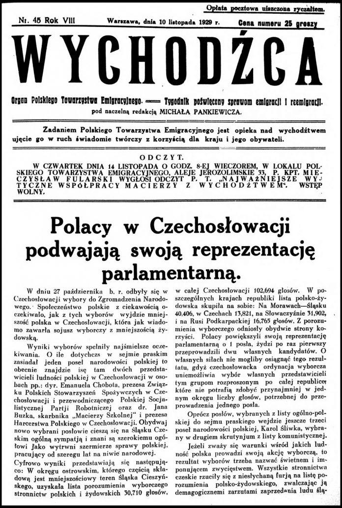 WYCHODŹCA. Organ Polskiego Towarzystwa Emigracyjnego == Tygodnik Poświęcony sprawom emigracji i reemigracji. - 1929, nr 45