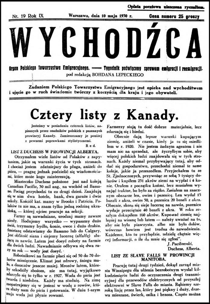 WYCHODŹCA. Organ Polskiego Towarzystwa Emigracyjnego == Tygodnik Poświęcony sprawom emigracji i reemigracji. - 1930, nr