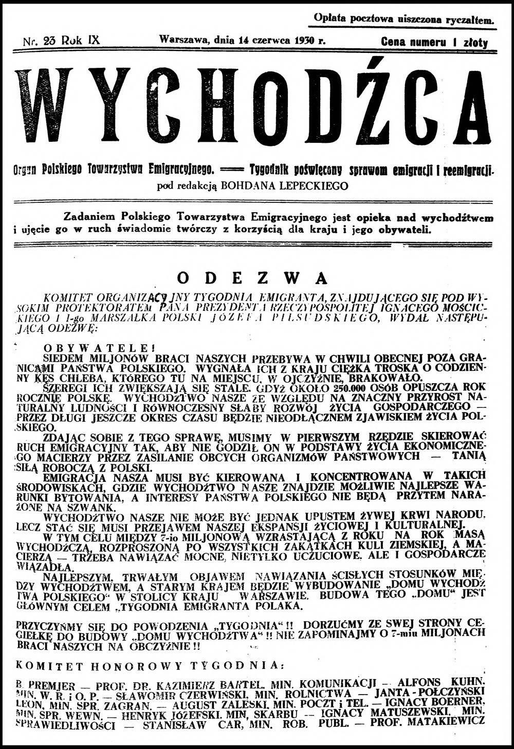 WYCHODŹCA. Organa Polskiego Towarzystwa Emigracyjnego == Tygodnik Poświęcony sprawom emigracji i reemigracji. - 1930, nr 23