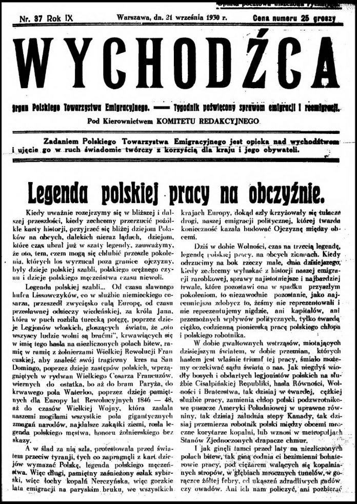 [1937, nr 37] Wychodźca. Organ Polskiego Towarzystwa Emigracyjnego - Tygodnik poświęcony sprawom emigracji i reemigracji. - 1930, nr 37