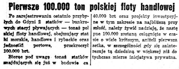 Pierwsze 100.00 ton polskiej floty handlowej