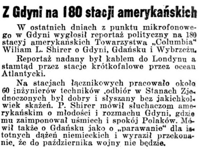 Z Gdyni na 180 stacji amerykańskich // Dziennik Poznański. - 1939, nr 192, s. 3