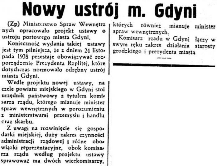 Nowy ustrój m. Gdyni // Dziennik Polski. - 1937, nr 294, s. 4