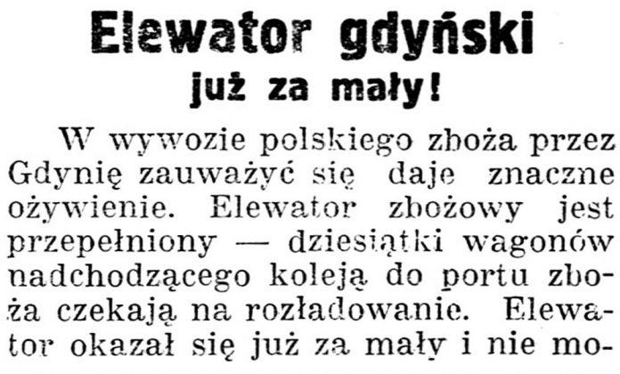 Elewator gdyński już za mały // Gazeta kartuska. - 1938, nr 132, s. 3