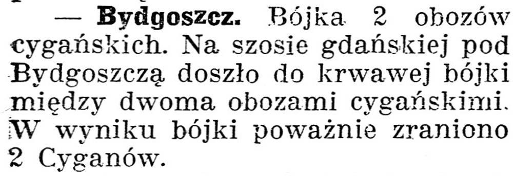 [Bydgoszcz. Bójka 2 obozów cygańskich] // Gazeta Kartuska. - 1938, nr 132, s. 3