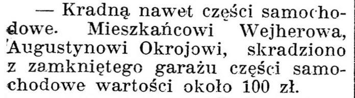 [Wejherowo. Kradną nawet części samochodowe] // Gazeta Kartuska. - 1938, nr 132, s. 3