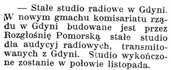 [Stałe studio radiowe w Gdyni] // Gazeta Kartuska. - 1938, nr 132, s. 3