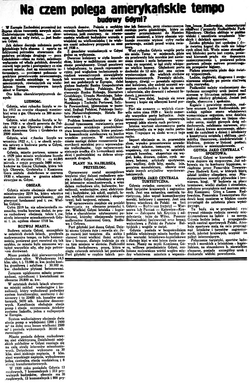 Na czem polega amerykańskie tempo budowy Gdyni? // Dziennik Wileński. - 1931, dod. Życie z dnia 30 sierpnia, s. 5