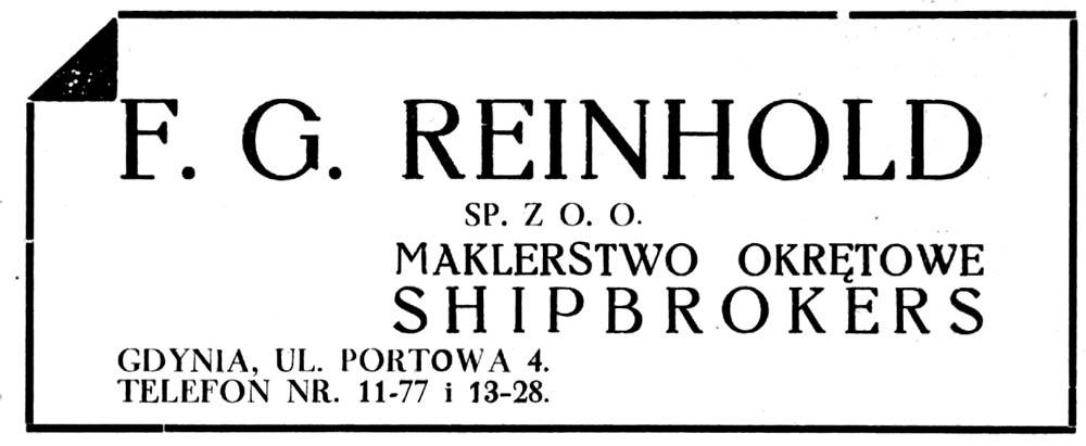 F.G. Reinhold SP. Z O. O. MAKLERSTWO OKRĘTOWE SHIPBROKERS GDYNIA, UL. PORTOWA 4