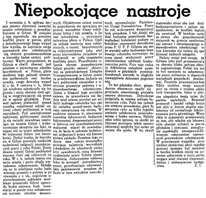 Niepokojące nastroje / Z.J. // Czas 1936, nr 222, s. 5
