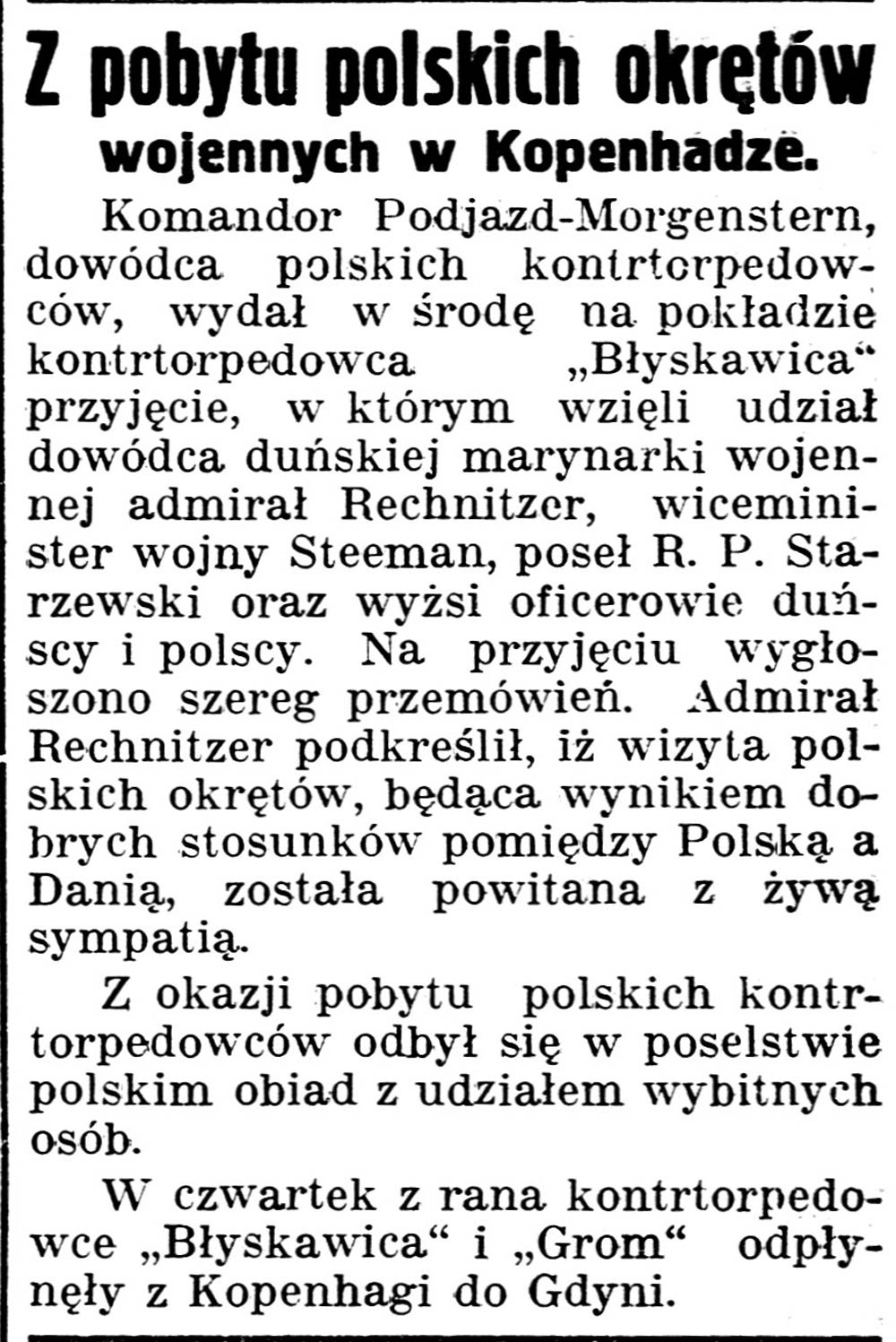 Z pobytu polskich okrętów wojennych w Kopenhadze // Gazeta Kartuska. - 1938, nr 103, s. 3