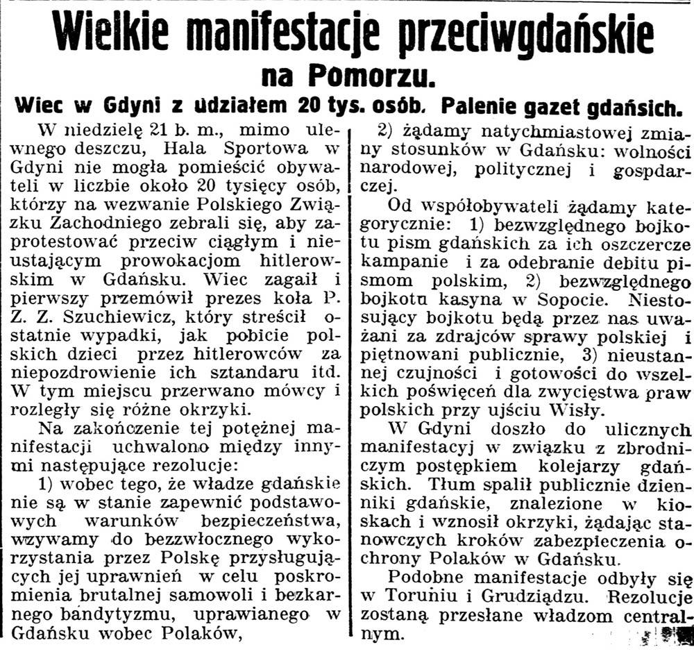 Wielkie manifestacje przeciwgdańskie na Pomorzu. Wiec w Gdyni z udziałem 20 tys. osób. Palenie gazet gdańskich // Gazeta Kartuska