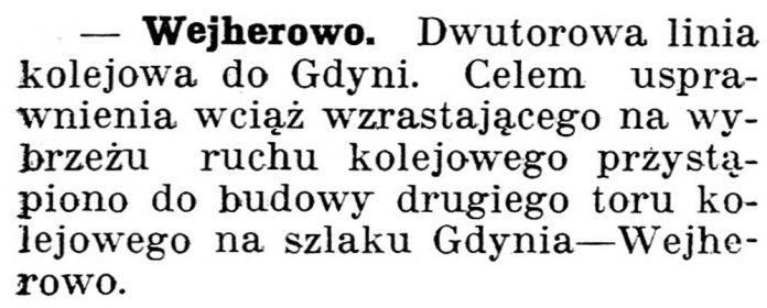 [Dwutorowa linia kolejowa do Gdyni] // Gazeta kartuska. - 1938, nr 103, s. 3