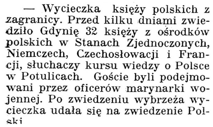 [Wycieczka księży polskich z zagranicy] // Gazeta Kartuska. - 1938, nr 103, s. 3