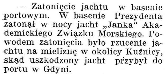 [Zatonięcie jachtu w basenie portowym] // Gazeta Kartuska. - 1928, nr 103, s. 3