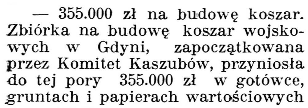 [355.000 zł na budowę koszar] // Gazeta Kartuska. - 1938, nr 103, s. 3
