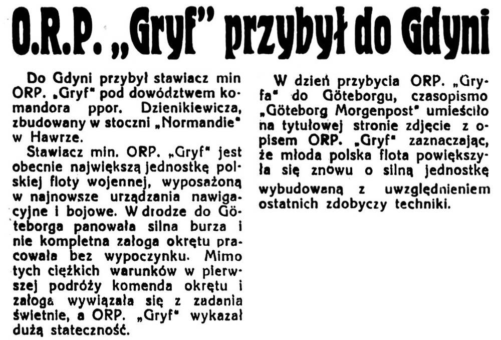 "[ORP GRYF] O.R.P. ""Gryf""przybył do Gdyni // Gazeta Poleska. - 1938, nr 10, s. 5"
