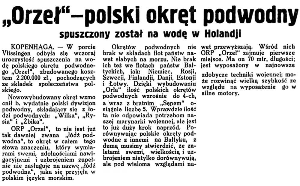 """[ORP ORZEŁ] """"Orzeł"""" - polski okręt podwodny spuszczony został na wodę w Holandji // Gazeta Wileńska. - 1938, nr 15, s. 1"""